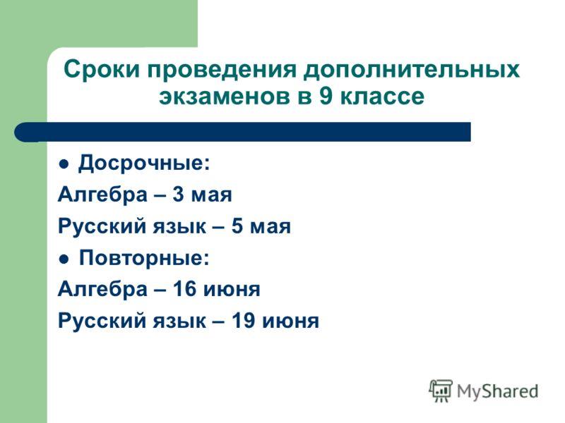 Сроки проведения дополнительных экзаменов в 9 классе Досрочные: Алгебра – 3 мая Русский язык – 5 мая Повторные: Алгебра – 16 июня Русский язык – 19 июня