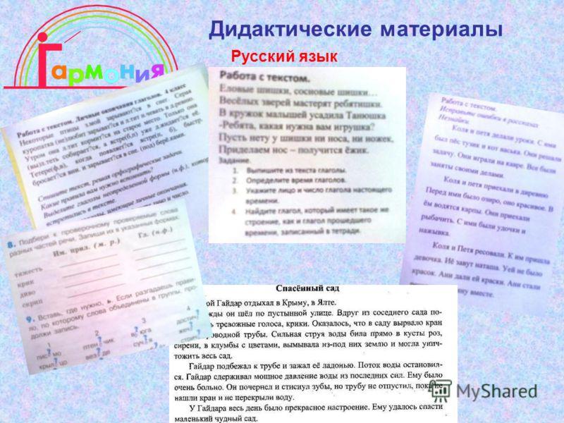 Дидактические материалы Русский язык