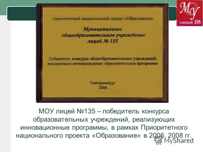 LOGO МОУ лицей 135 – победитель конкурса образовательных учреждений, реализующих инновационные программы, в рамках Приоритетного национального проекта «Образование» в 2006, 2008 гг.
