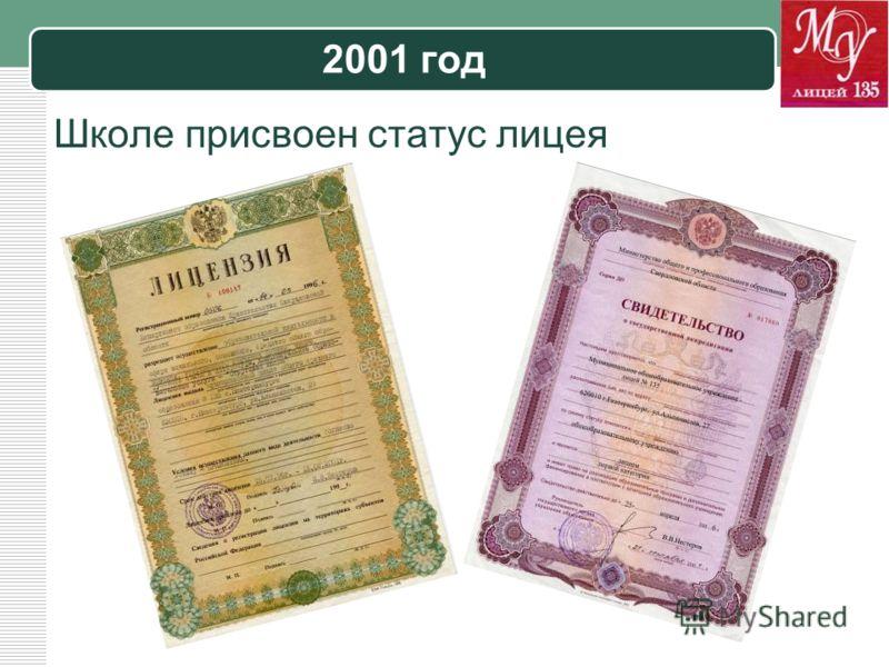 LOGO 2001 год Школе присвоен статус лицея