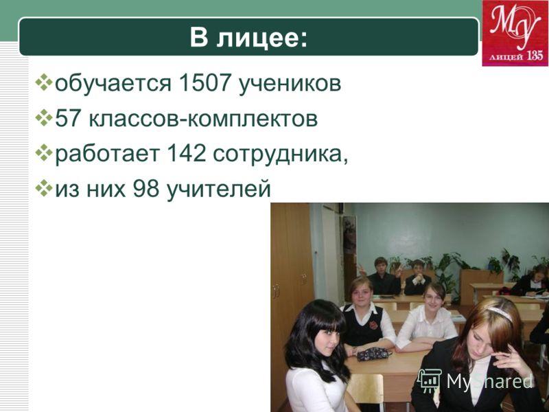LOGO В лицее: обучается 1507 учеников 57 классов-комплектов работает 142 сотрудника, из них 98 учителей