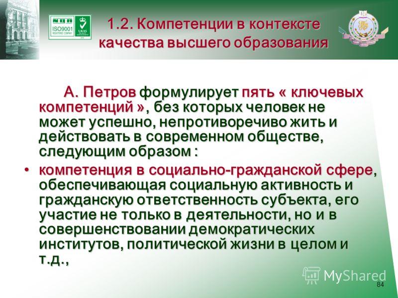 84 1.2. Компетенции в контексте качества высшего образования А. Петров формулирует пять « ключевых компетенций », без которых человек не может успешно, непротиворечиво жить и действовать в современном обществе, следующим образом : компетенция в социа