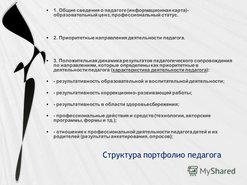 Структура портфолио педагога