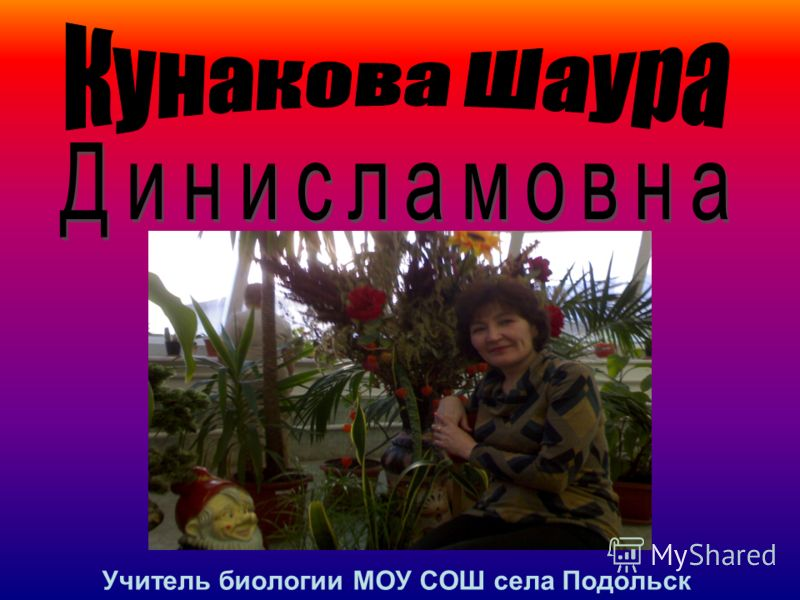 Учитель биологии МОУ СОШ села Подольск