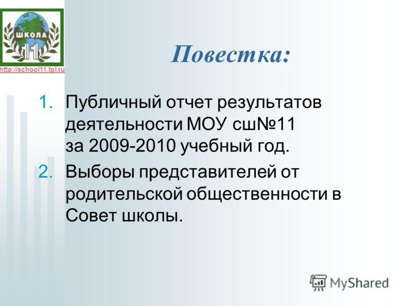 http://school11.tgl.ru Повестка: 1.Публичный отчет результатов деятельности МОУ сш11 за 2009-2010 учебный год. 2.Выборы представителей от родительской общественности в Совет школы.
