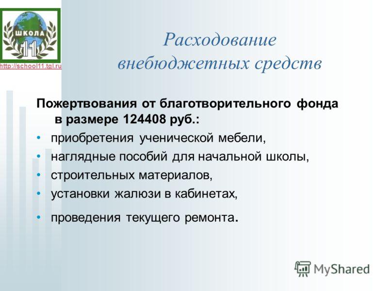 http://school11.tgl.ru Расходование внебюджетных средств Пожертвования от благотворительного фонда в размере 124408 руб.: приобретения ученической мебели, наглядные пособий для начальной школы, строительных материалов, установки жалюзи в кабинетах, п