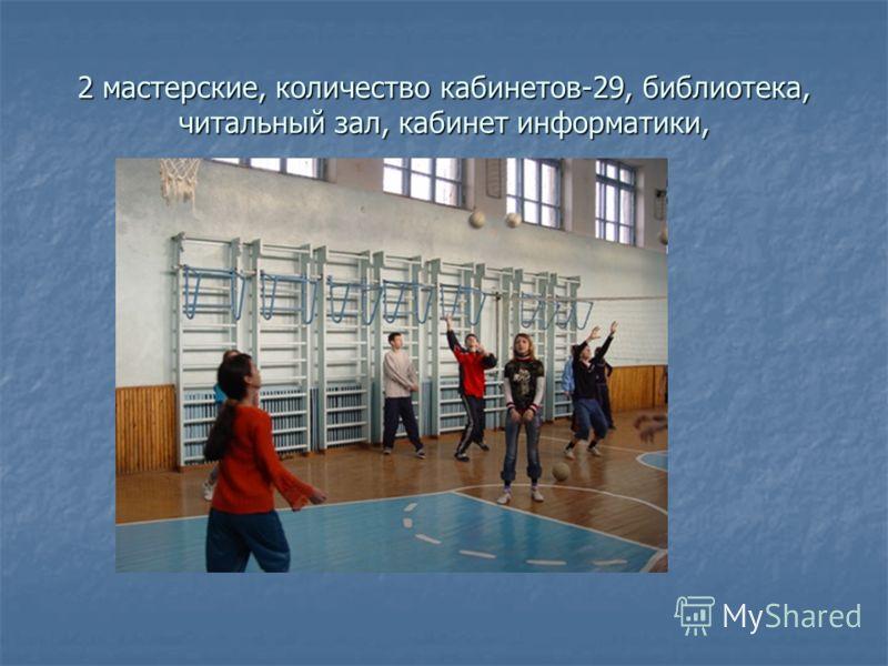 2 мастерские, количество кабинетов-29, библиотека, читальный зал, кабинет информатики,