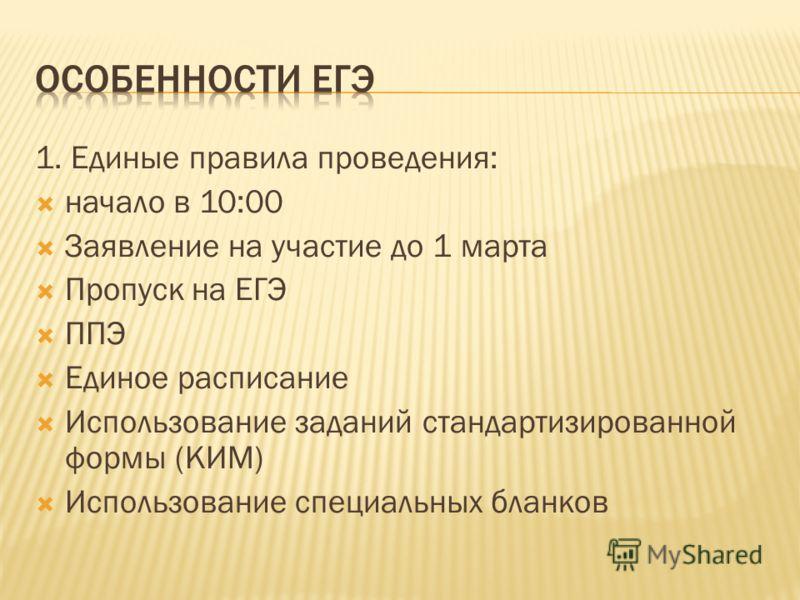 1. Единые правила проведения: начало в 10:00 Заявление на участие до 1 марта Пропуск на ЕГЭ ППЭ Единое расписание Использование заданий стандартизированной формы (КИМ) Использование специальных бланков
