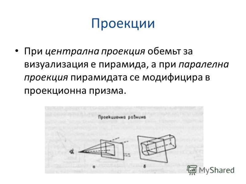 Проекции При централна проекция обемьт за визуализация е пирамида, а при паралелна проекция пирамидата се модифицира в проекционна призма.