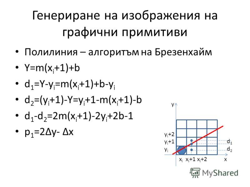 Генериране на изображения на графични примитиви Полилиния – алгоритъм на Брезенхайм Y=m(x i +1)+b d 1 =Y-y i =m(x i +1)+b-y i d 2 =(y i +1)-Y=y i +1-m(x i +1)-b d 1 -d 2 =2m(x i +1)-2y i +2b-1 p 1 =2y- x x i x i +1 x i +2 x y y i +2 y i +1 y i d1d2d1