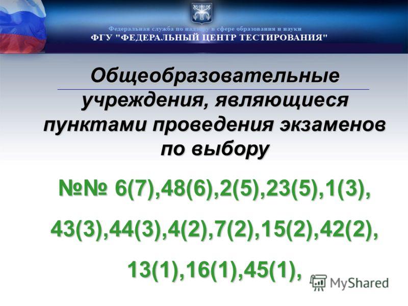 Общеобразовательные учреждения, являющиеся пунктами проведения экзаменов по выбору 6(7),48(6),2(5),23(5),1(3), 6(7),48(6),2(5),23(5),1(3),43(3),44(3),4(2),7(2),15(2),42(2),13(1),16(1),45(1),