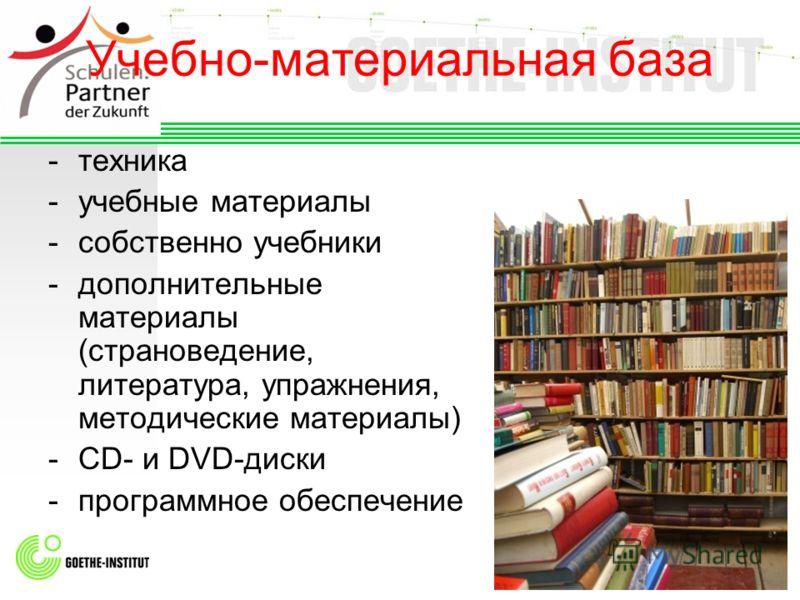 Учебно-материальная база -техника -учебные материалы -собственно учебники -дополнительные материалы (страноведение, литература, упражнения, методические материалы) -CD- и DVD-диски -программное обеспечение