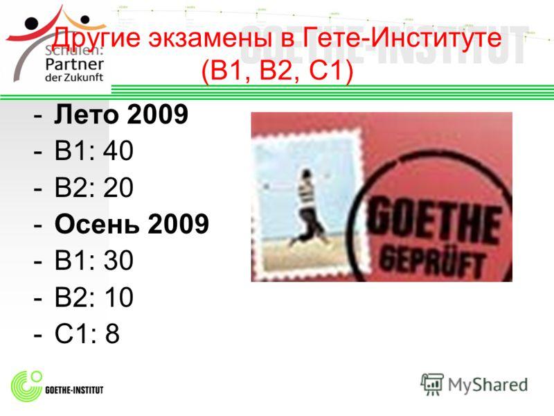 Другие экзамены в Гете-Институте (B1, B2, C1) -Лето 2009 -B1: 40 -B2: 20 -Осень 2009 -B1: 30 -B2: 10 -C1: 8