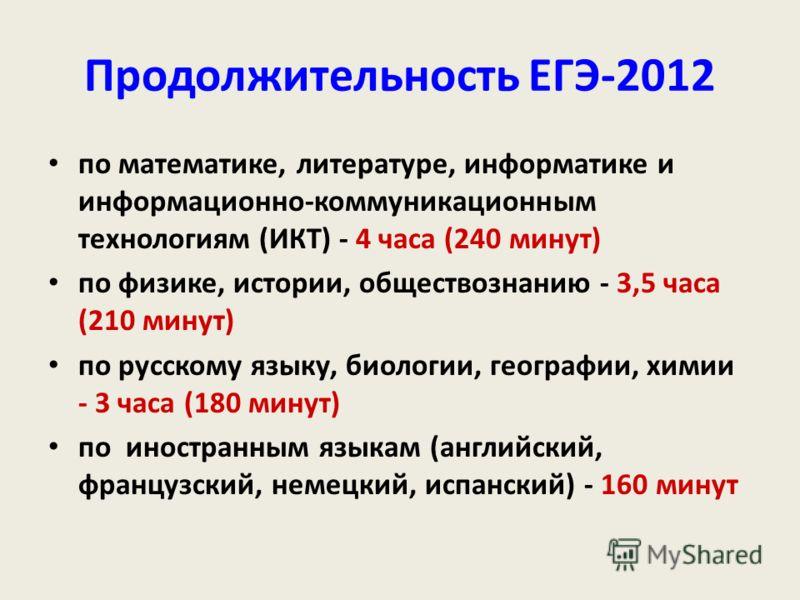 Продолжительность ЕГЭ-2012 по математике, литературе, информатике и информационно-коммуникационным технологиям (ИКТ) - 4 часа (240 минут) по физике, истории, обществознанию - 3,5 часа (210 минут) по русскому языку, биологии, географии, химии - 3 часа