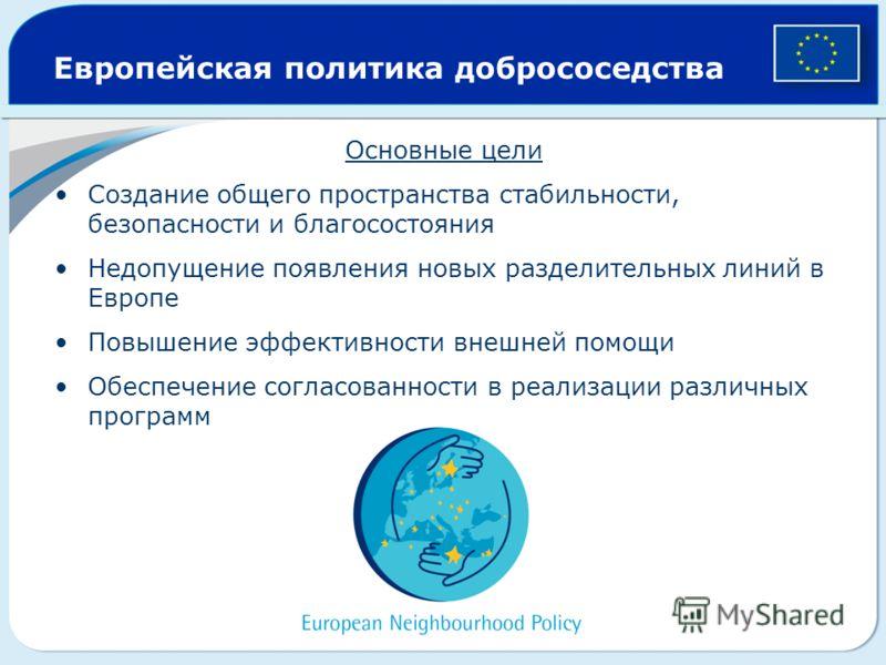 Европейская политика добрососедства Основные цели Создание общего пространства стабильности, безопасности и благосостояния Недопущение появления новых разделительных линий в Европе Повышение эффективности внешней помощи Обеспечение согласованности в