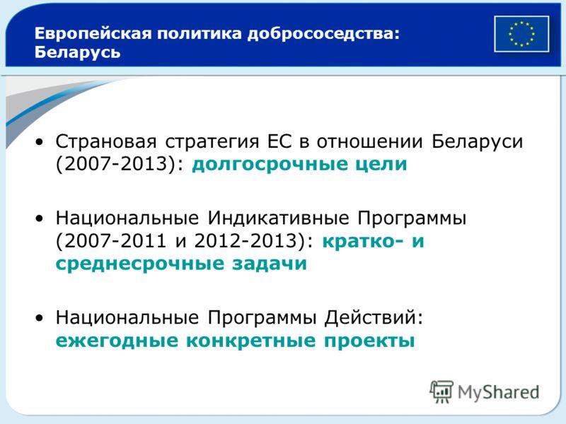 Европейская политика добрососедства: Беларусь Страновая стратегия ЕС в отношении Беларуси (2007-2013): долгосрочные цели Национальные Индикативные Программы (2007-2011 и 2012-2013): кратко- и среднесрочные задачи Национальные Программы Действий: ежег