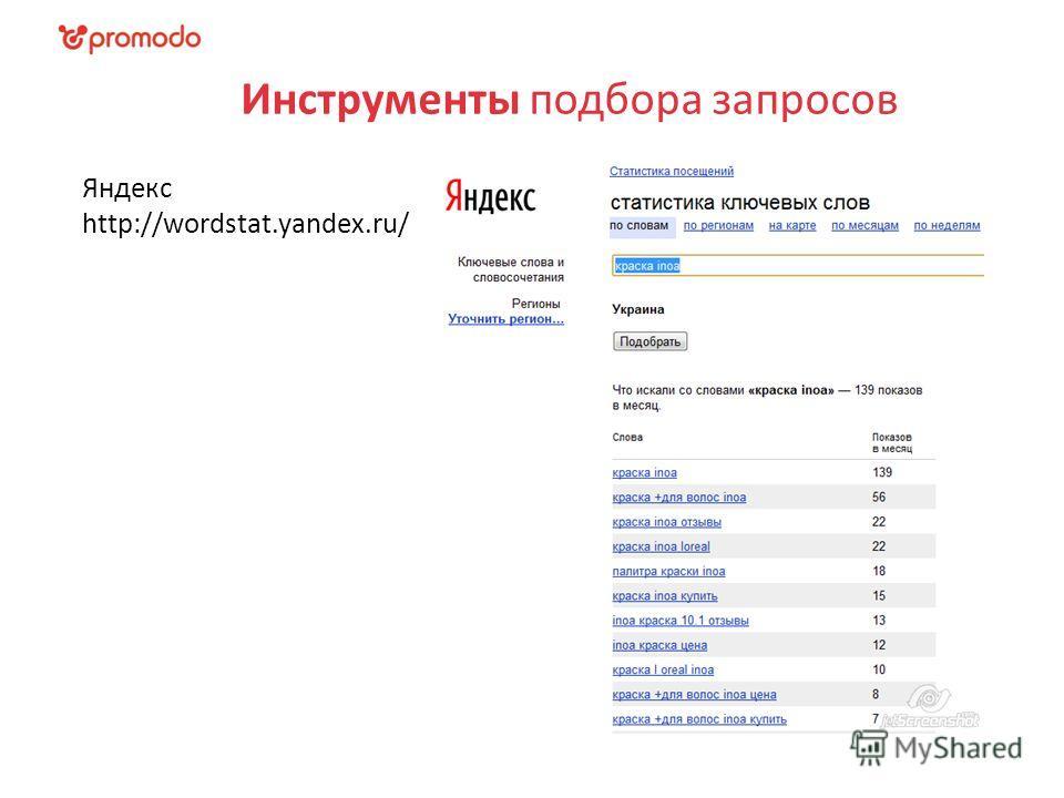 Инструменты подбора запросов Яндекс http://wordstat.yandex.ru/