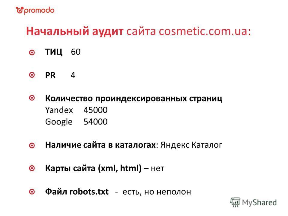 Начальный аудит сайта cosmetic.com.ua: ТИЦ 60 PR 4 Количество проиндексированных страниц Yandex 45000 Google 54000 Наличие сайта в каталогах: Яндекс Каталог Карты сайта (xml, html) – нет Файл robots.txt - есть, но неполон