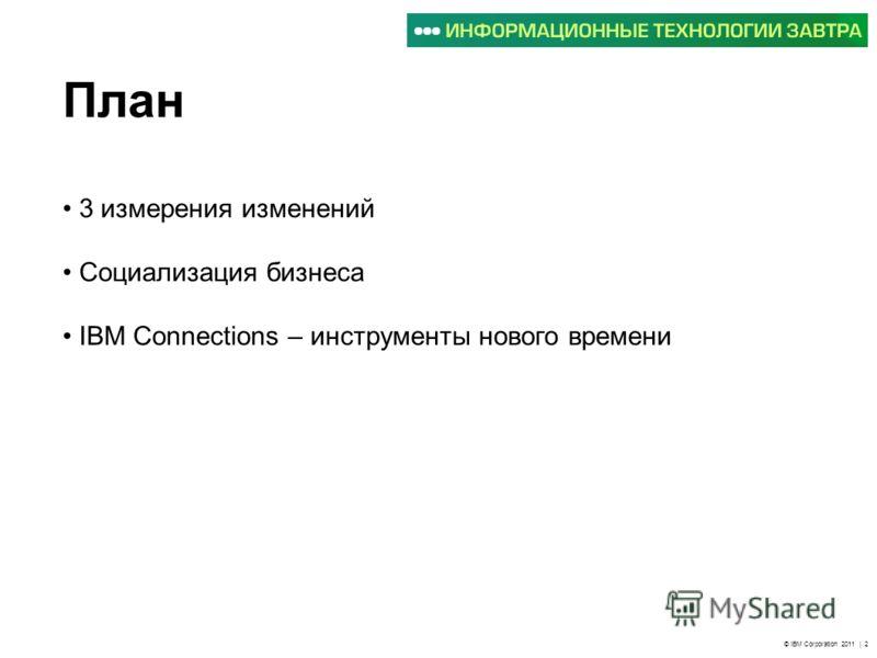 © IBM Corporation 2011 | 2 План 3 измерения изменений Социализация бизнеса IBM Connections – инструменты нового времени