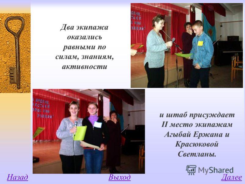 Два экипажа оказались равными по силам, знаниям, активности и штаб присуждает II место экипажам Агыбай Ержана и Красюковой Светланы. НазадВыходДалее