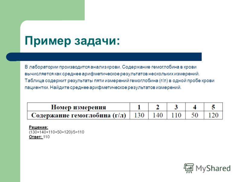 Пример задачи: В лаборатории производится анализ крови. Содержание гемоглобина в крови вычисляется как среднее арифметическое результатов нескольких измерений. Таблица содержит результаты пяти измерений гемоглобина (г/л) в одной пробе крови пациентки
