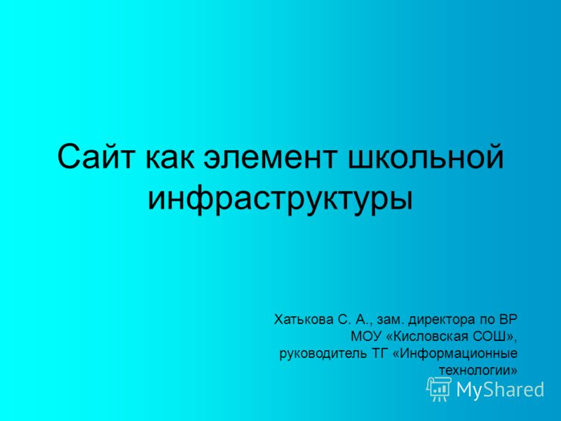 Сайт как элемент школьной инфраструктуры Хатькова С. А., зам. директора по ВР МОУ «Кисловская СОШ», руководитель ТГ «Информационные технологии»