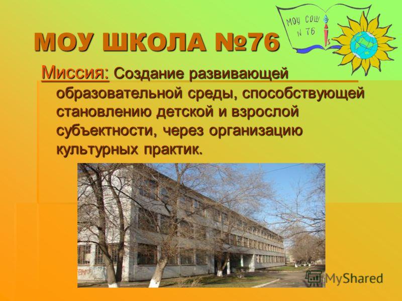 МОУ ШКОЛА 76 Миссия: Создание развивающей образовательной среды, способствующей становлению детской и взрослой субъектности, через организацию культурных практик.