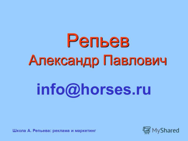 Школа А. Репьева: реклама и маркетинг 1 Репьев Александр Павлович info@horses.ru