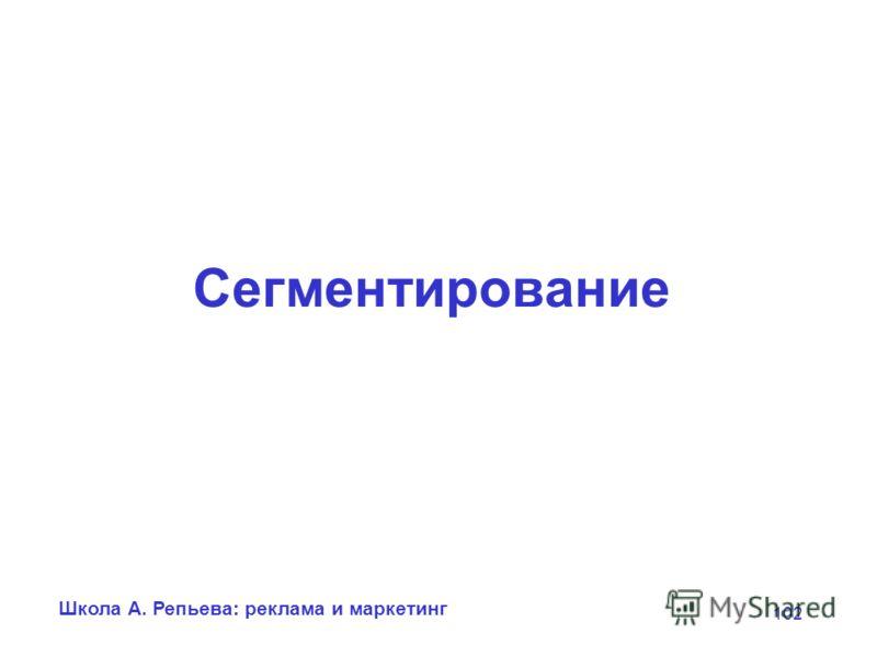 Школа А. Репьева: реклама и маркетинг 102 Сегментирование