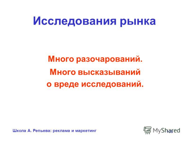 Школа А. Репьева: реклама и маркетинг 105 Исследования рынка Много разочарований. Много высказываний о вреде исследований.