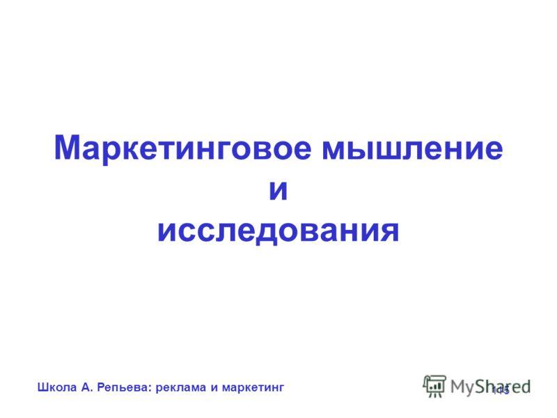 Школа А. Репьева: реклама и маркетинг 115 Маркетинговое мышление и исследования