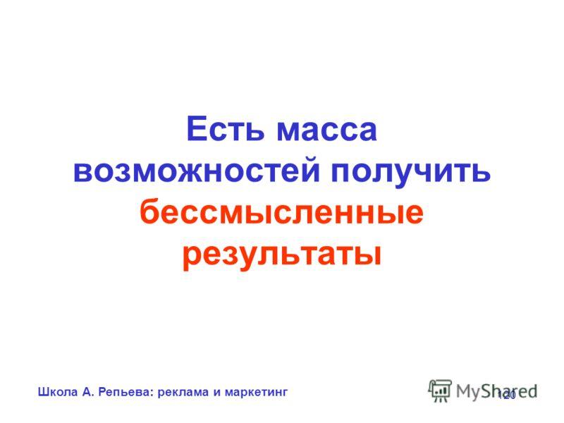 Школа А. Репьева: реклама и маркетинг 120 Есть масса возможностей получить бессмысленные результаты