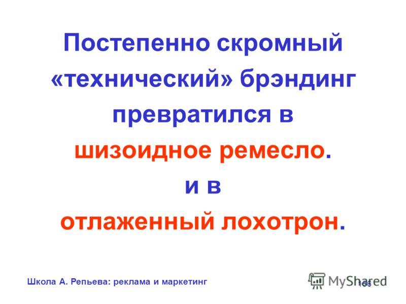 Школа А. Репьева: реклама и маркетинг 156 Постепенно скромный «технический» брэндинг превратился в шизоидное ремесло. и в отлаженный лохотрон.