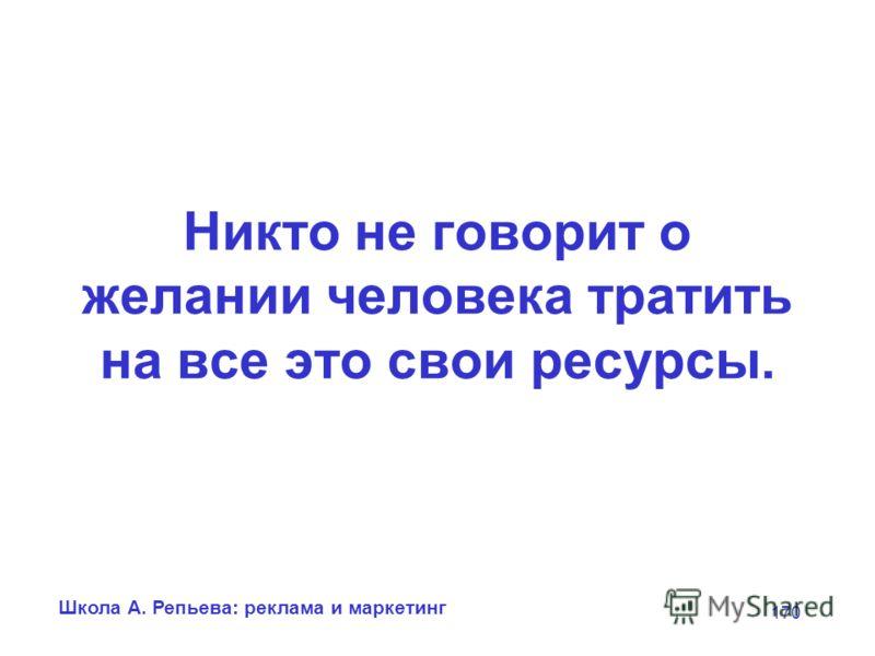 Школа А. Репьева: реклама и маркетинг 170 Никто не говорит о желании человека тратить на все это свои ресурсы.