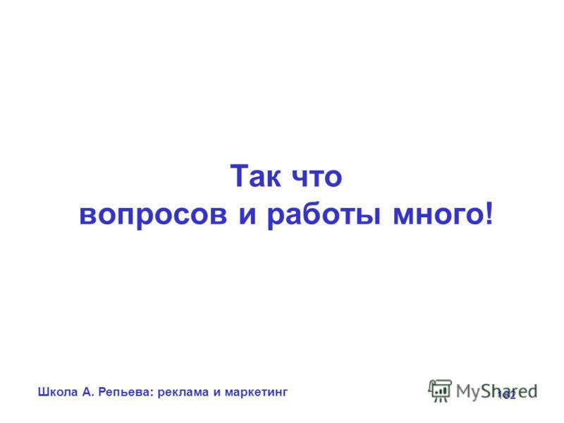 Школа А. Репьева: реклама и маркетинг 182 Так что вопросов и работы много!