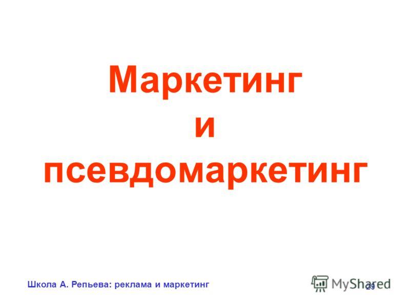 Школа А. Репьева: реклама и маркетинг 29 Маркетинг и псевдомаркетинг