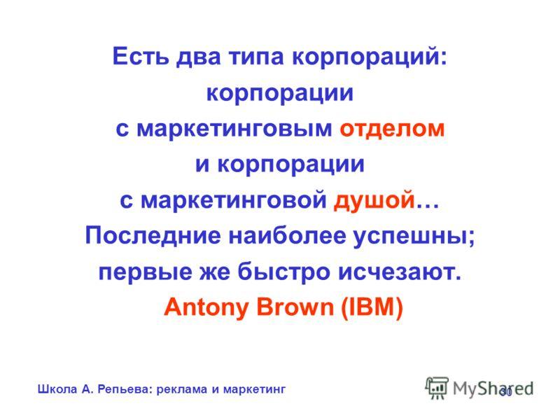 Школа А. Репьева: реклама и маркетинг 30 Есть два типа корпораций: корпорации с маркетинговым отделом и корпорации с маркетинговой душой… Последние наиболее успешны; первые же быстро исчезают. Antony Brown (IBM)