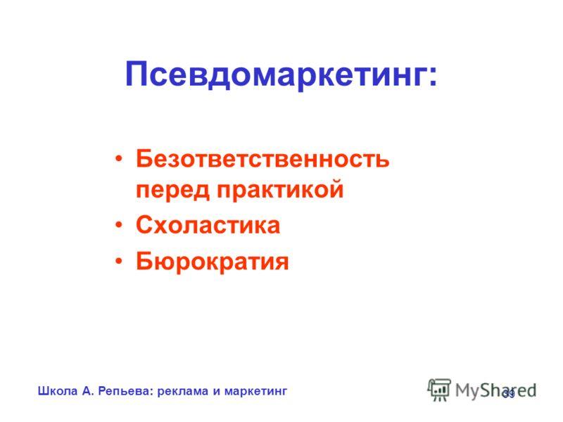 Школа А. Репьева: реклама и маркетинг 39 Псевдомаркетинг: Безответственность перед практикой Схоластика Бюрократия
