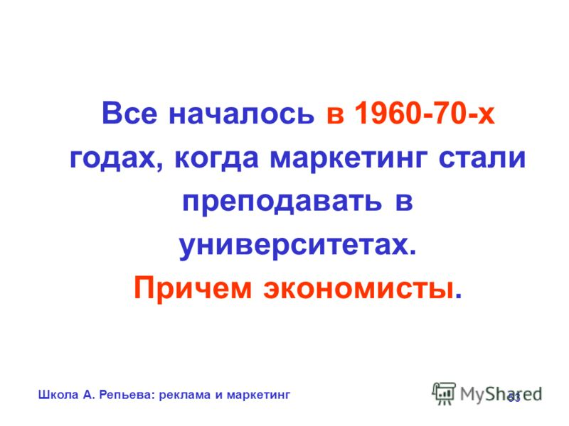 Школа А. Репьева: реклама и маркетинг 53 Все началось в 1960-70-х годах, когда маркетинг стали преподавать в университетах. Причем экономисты.