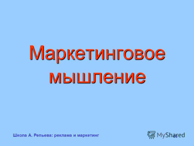 Школа А. Репьева: реклама и маркетинг 60 Маркетинговое мышление