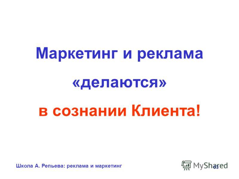 Школа А. Репьева: реклама и маркетинг 63 Маркетинг и реклама «делаются» в сознании Клиента!