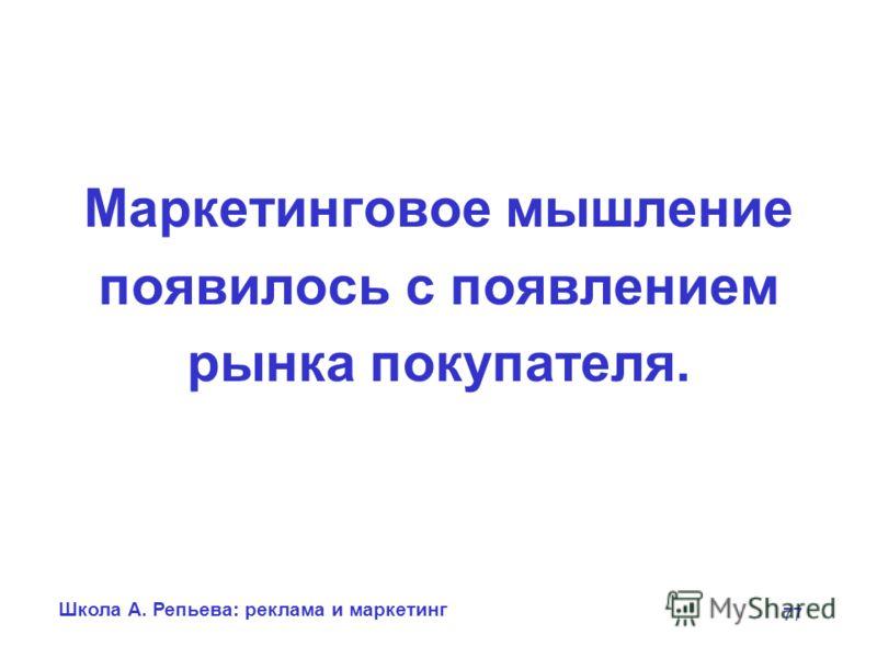 Школа А. Репьева: реклама и маркетинг 77 Маркетинговое мышление появилось с появлением рынка покупателя.