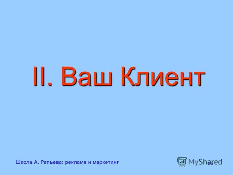 Школа А. Репьева: реклама и маркетинг 96 II. Ваш Клиент