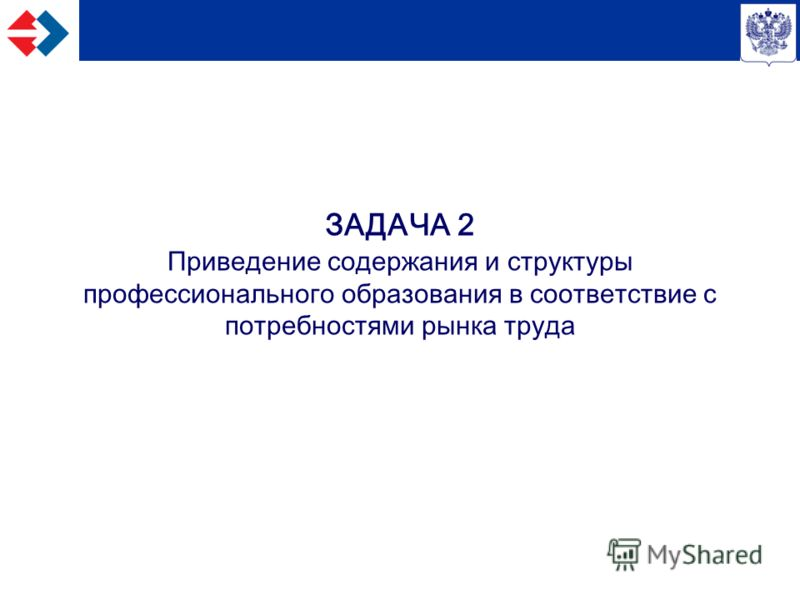 ЗАДАЧА 2 Приведение содержания и структуры профессионального образования в соответствие с потребностями рынка труда
