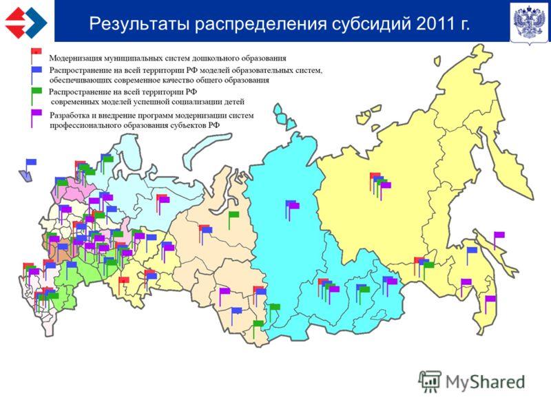 Результаты распределения субсидий 2011 г.