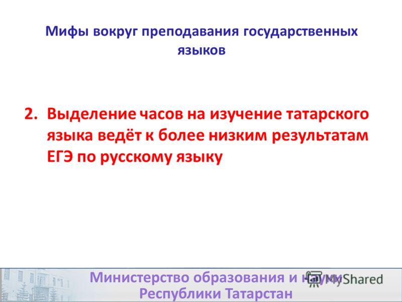 Мифы вокруг преподавания государственных языков 2.Выделение часов на изучение татарского языка ведёт к более низким результатам ЕГЭ по русскому языку