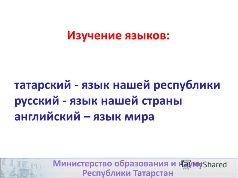 татарский - язык нашей республики русский - язык нашей страны английский – язык мира Изучение языков: