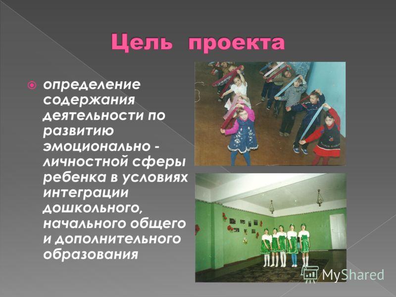определение содержания деятельности по развитию эмоционально - личностной сферы ребенка в условиях интеграции дошкольного, начального общего и дополнительного образования