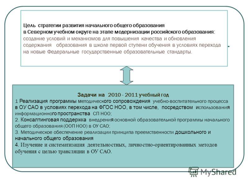 Задачи на 2010 - 2011 учебный год 1 Реализация программы м етодическ ого сопровождения учебно-воспитательного процесса в ОУ САО в условиях перехода на ФГОС НОО, в том числе, посредством и спользовани я информационно го пространства СП НОО; 2. Консалт