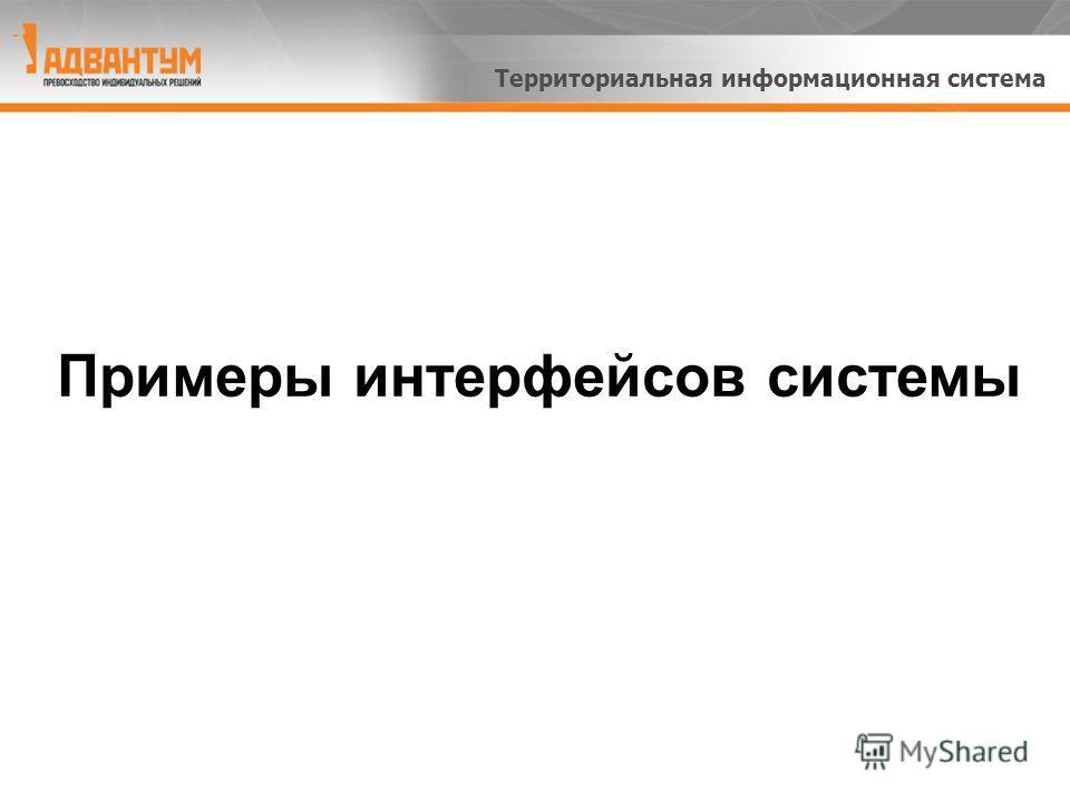 Примеры интерфейсов системы Территориальная информационная система